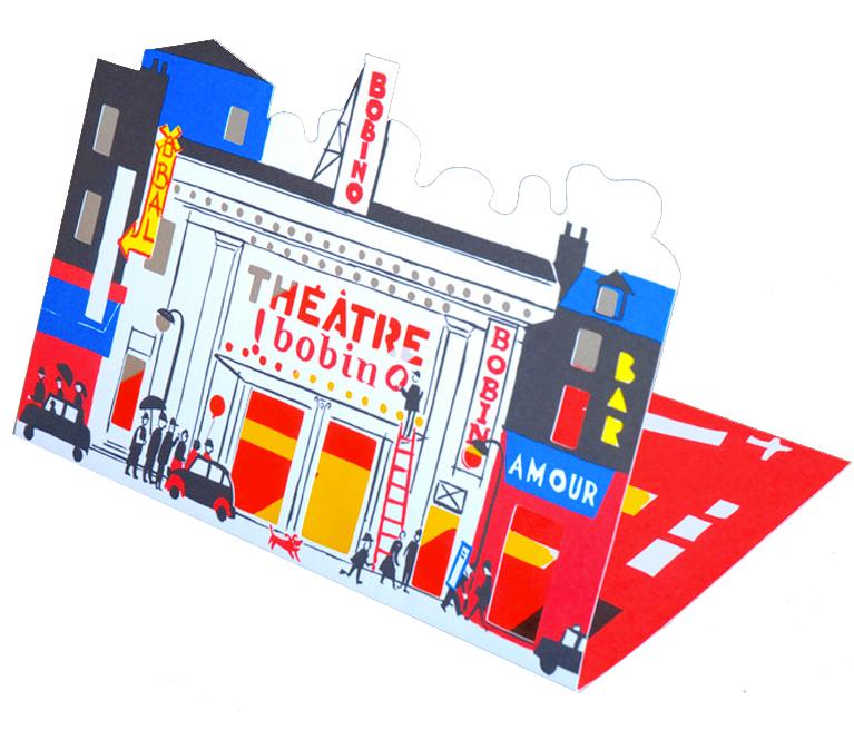 Cartes d'invitation pour les théâtres Antoine, Bobino, Le point Virgule et les Folie Bergère Cinq tons Pantone, découpes au laser, imprimerie du Marais